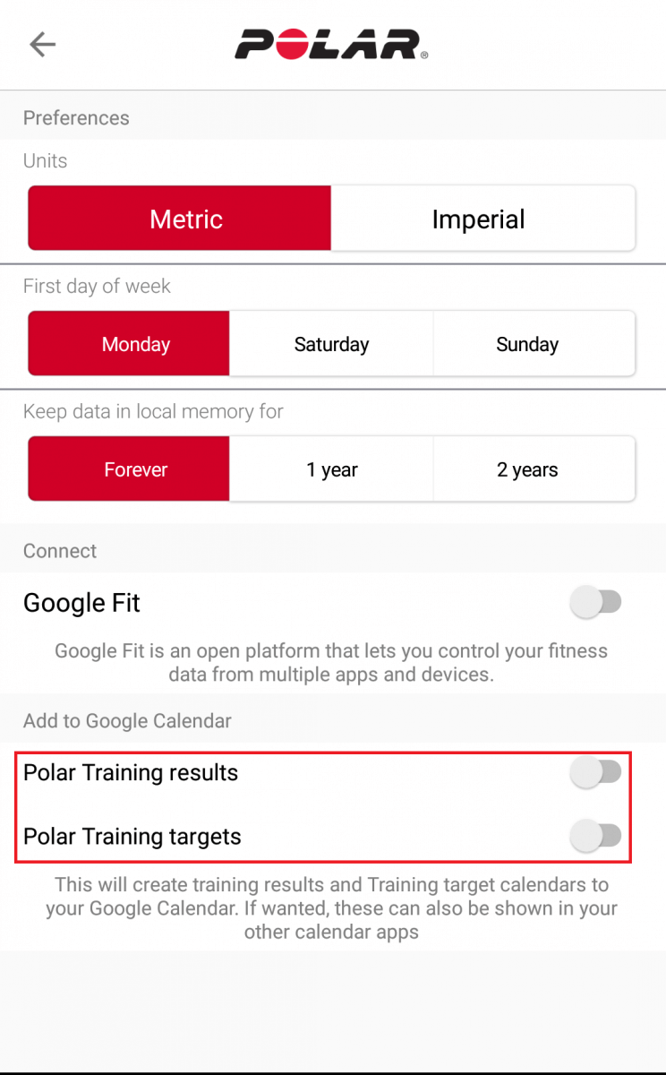 Can I add my training sessions to my mobile's calendar