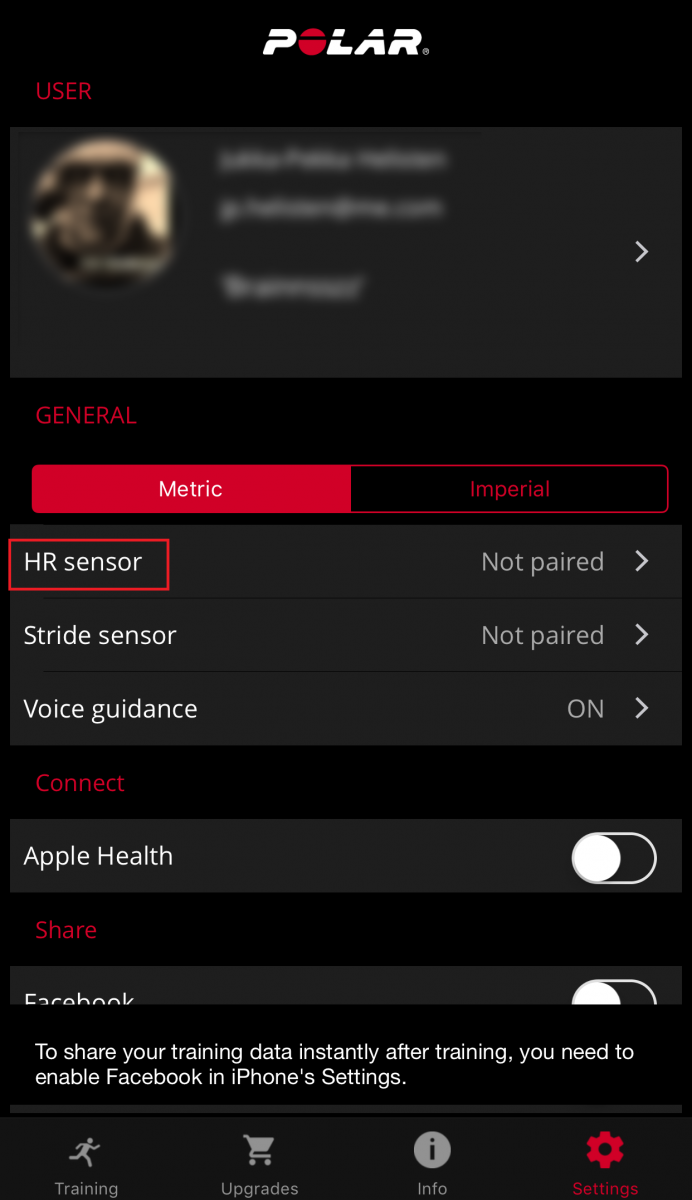 How to pair a heart rate sensor with Polar Beat app iOS