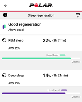 Sleep regeneration section in Flow app